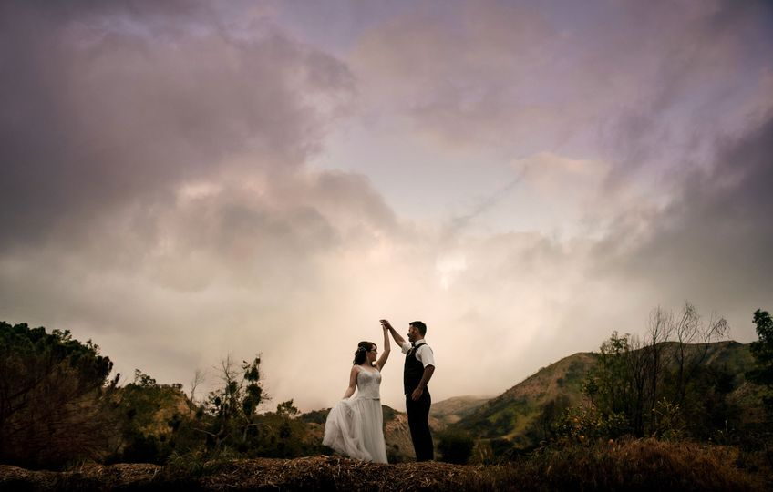 Dramatic Sunset Wedding Photo
