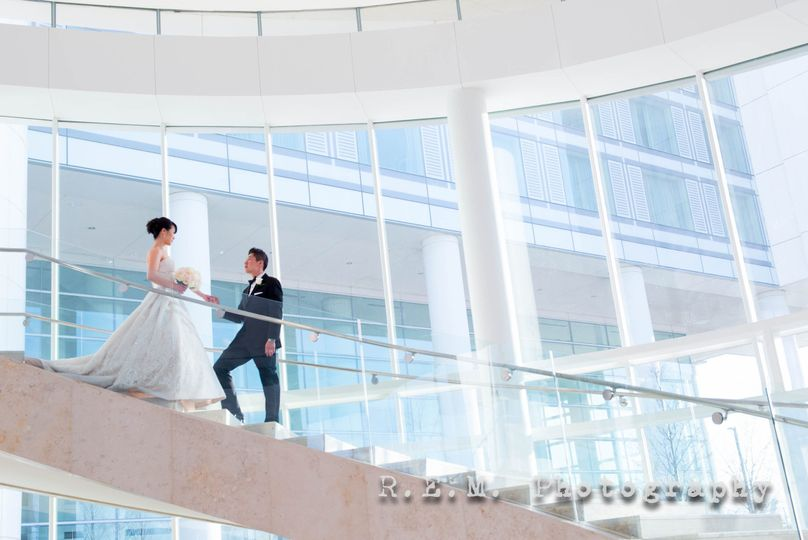 Couple's portrait on stairwell