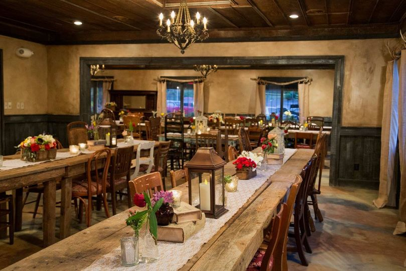 A rustic reception space