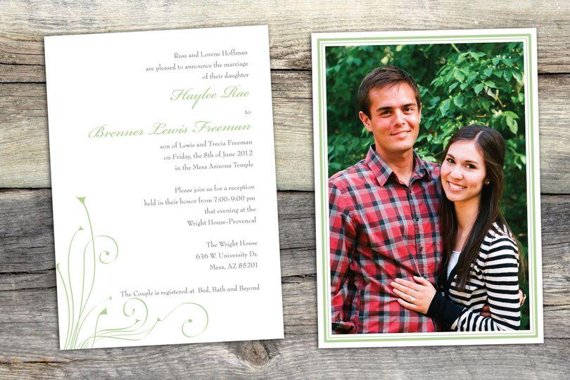 A classic letterpress style wedding invitation.
