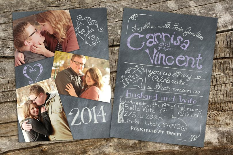 A hand lettered, chalkboard style wedding invitation.