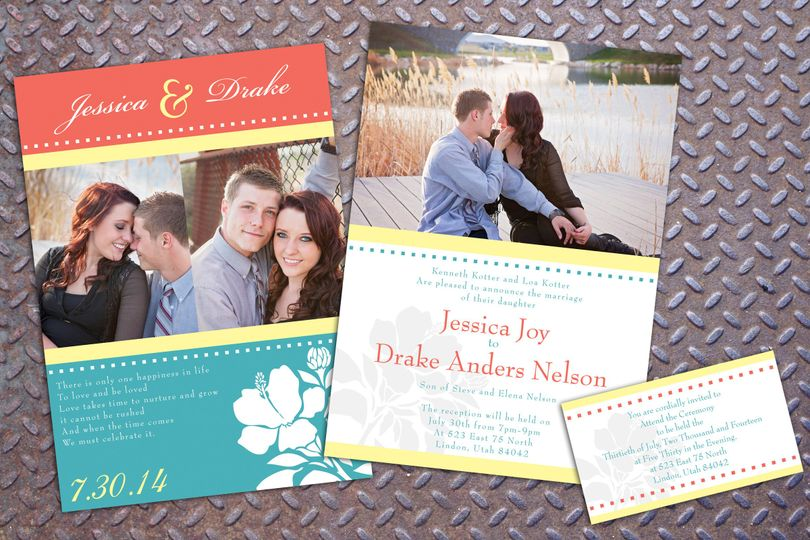 A fun mix of classic and modern. A great wedding invitation with a matching insert card.
