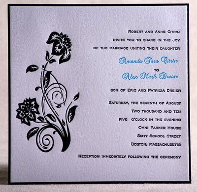 Pocketfold invitation suite.  2-color letterpressed invitation with floral embellishment printed on...