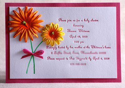 Mixed media shower invitation (bridal/wedding/baby).  Letterpressed text with watercolor flower...