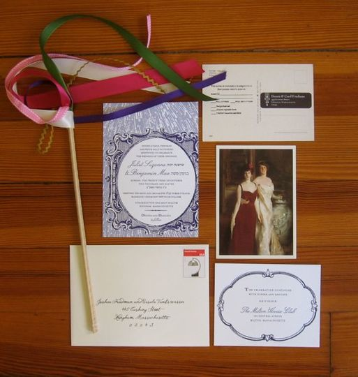 Beautiful and collaborative mixed-media wedding suite.  Initial design by A Printable Press....