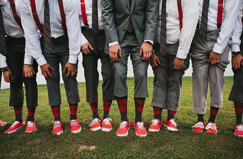 Groomsmen with argyle red and gray sock and red Van's