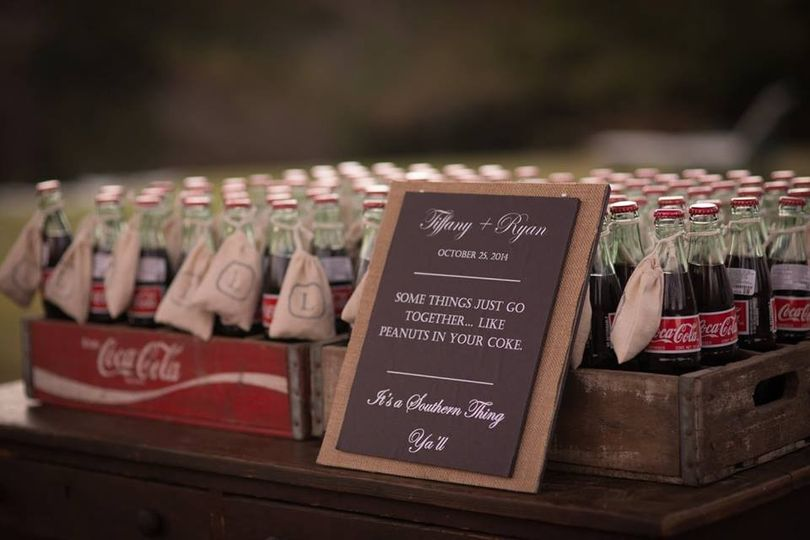 Peanuts in your Coke...it's a Southern Thing!  Bottles of Coca-Cola with burlap monogrammed bags of...