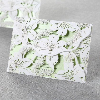 Lily Blossoms Laser Cut Wrap by B Wedding Invitations