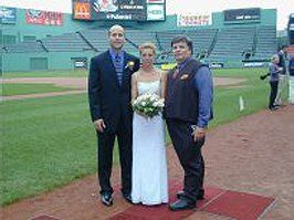 Jimmy Jay DJ for wedding on the field at Fenway Park.
