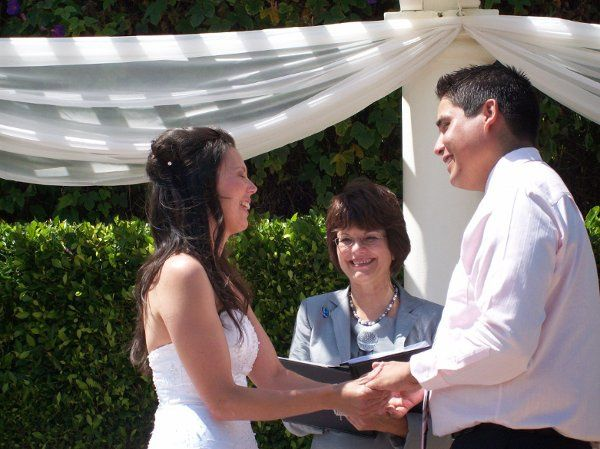 The wedding of Sonia and Doug from Vancouver, British Columbia. Toni officiating at the Handlery...