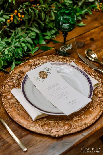 LiliWeds Menu w/ Wax Seal