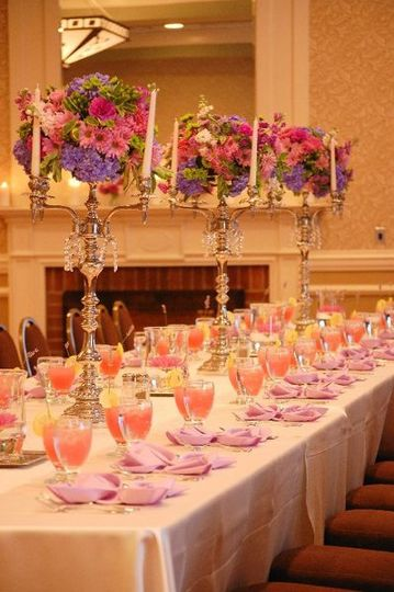 Head table with flowers centerpiece