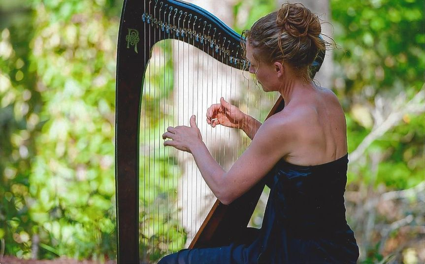 Harp at a wedding in Whispering Pines