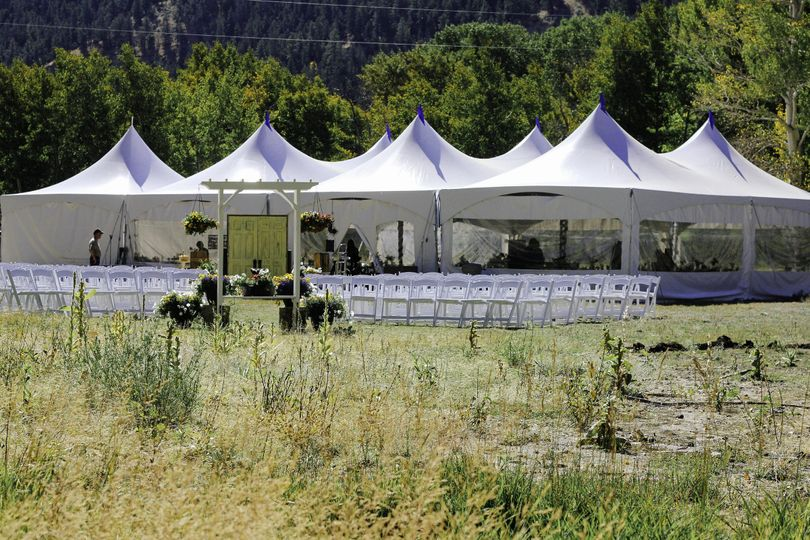 Reception tent and outdoor ceremony setup
