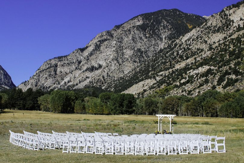 Mountainside wedding setup