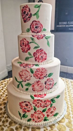 Wedding cake with flower painting