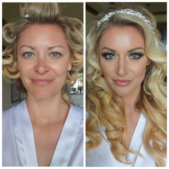 Before and after makeup look