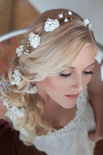 Side braid with floral detail