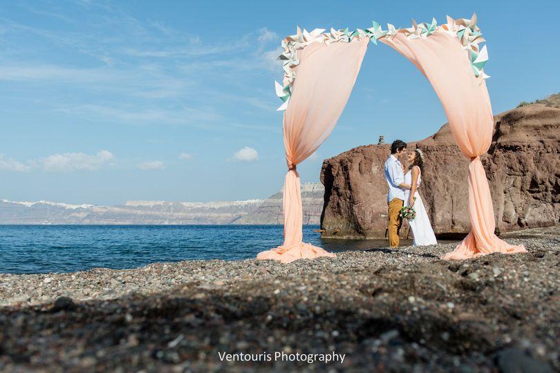 Beach Wedding in Santorini- Weddi g altar