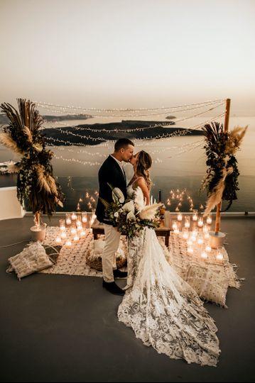Bohemian wedding Santorini