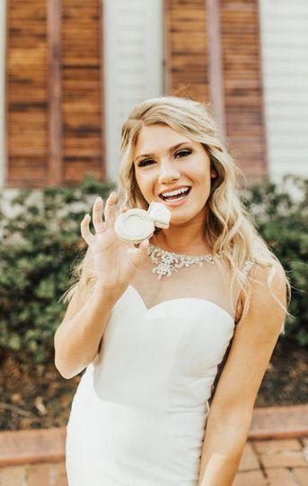 Bride enjoying dessert