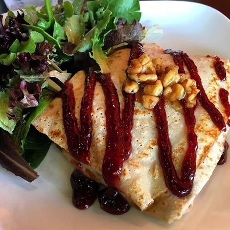 Raspberry Chicken entree crepe with side salad. Our best seller. Great for brunch or dinner. Sweet...