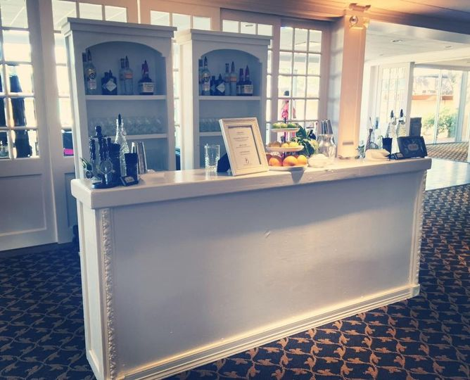 vintage white bar with backbar