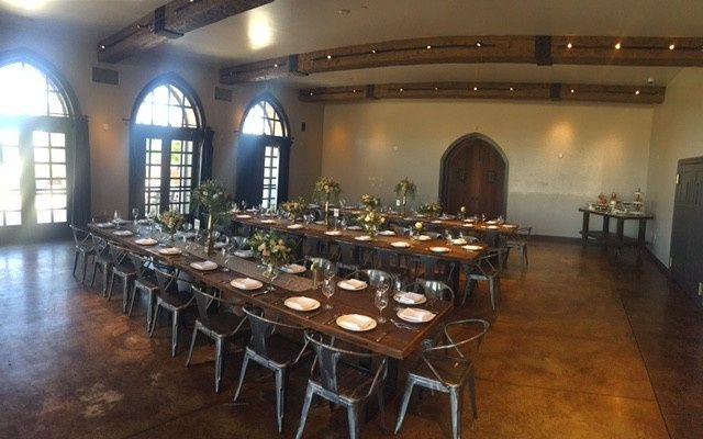 With custom created 8 ft. tables that seat up to 10 guests, our Amor Fati room is versatile and can...