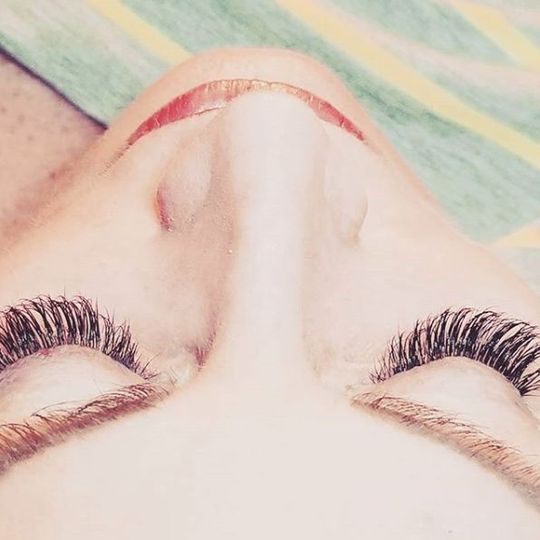 Top view of eyelashes