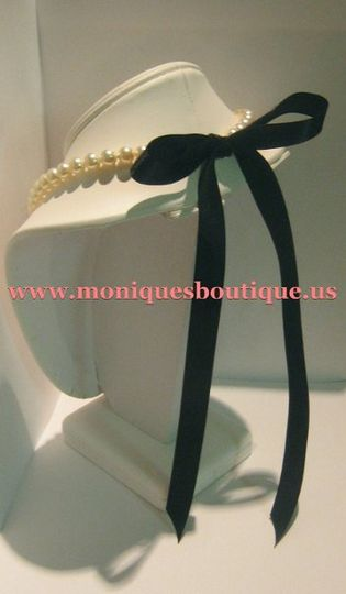 Ribbon tie pearl necklace made with Swarovski pearls and Midori satin ribbon. Your choice of pearl...