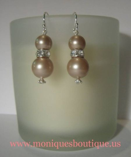 Pearl and rhinestone earrings with Swarovski rhinestones, Swarovski pearls and sterling silver. Your...