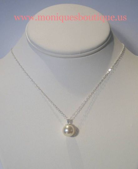 Single drop pearl necklace with sterling silver chain and Swarovski pearl. Your choice of pearl...