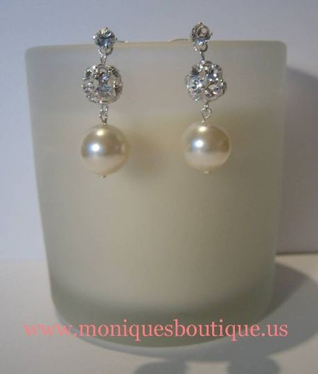Rhinestone, fireball and pearl earrings with Swarovski rhinestones, Swarovski pearls and sterling...