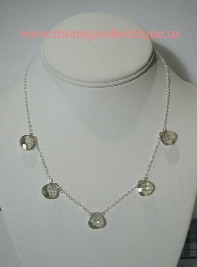 Five briolette necklace with sterling silver chain and Swarovski crystal flat briolettes. Your...