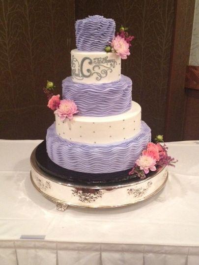 5-tier white and purple cake