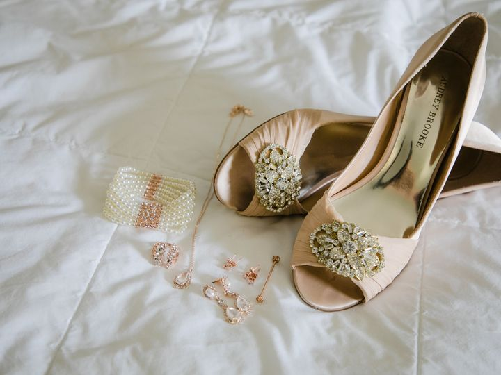Tmx Brides Shoes And Jewelry On Bed 51 30184 Kulpsville, PA wedding venue