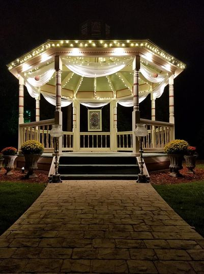 Gazebo lights in the evening