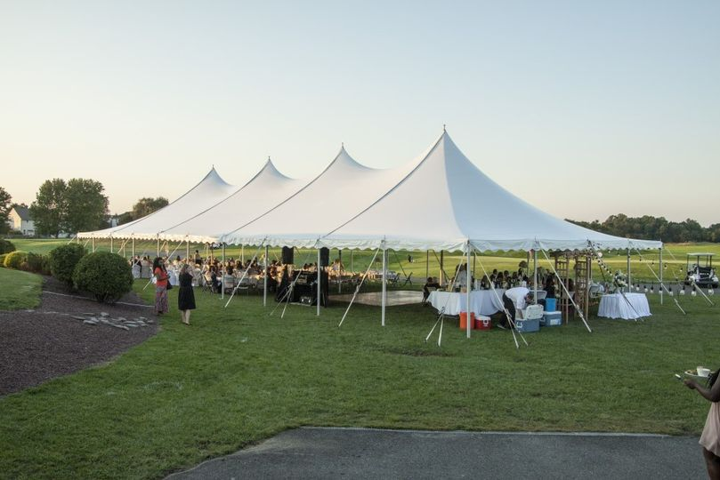 Tent wedding reception view