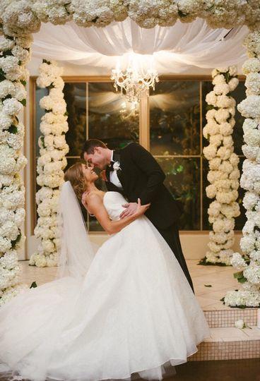 Beautiful Fresh Hydrangea Canopy created for Shelby & Nick wedding at Chapel Ana Villa