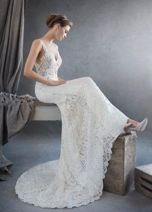 Tmx 1464737611571 Lazaro Bridal Lace Trumpet V Neckline Shear Cut Ou Rochester wedding dress
