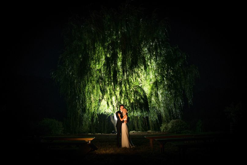 Newlyweds under the lights