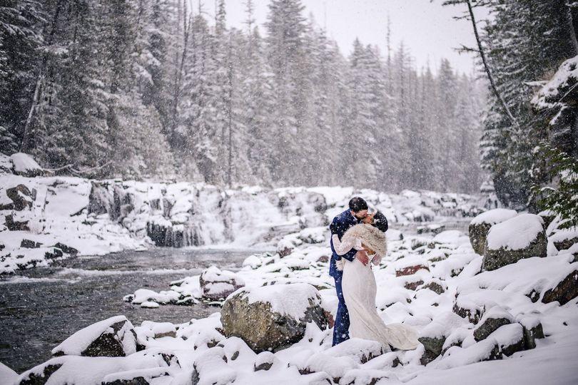 Winter elopement Glacier park