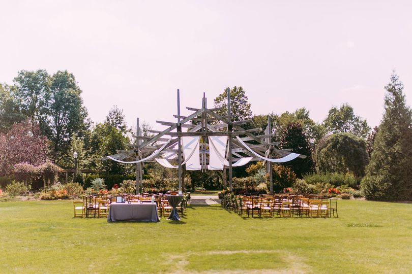 Small ceremony at Peace Arbor