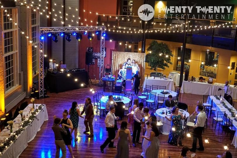 Dance Floor Lighting, DJ services & Photo Booth for wedding reception 6.9.18 at Hansen Student...