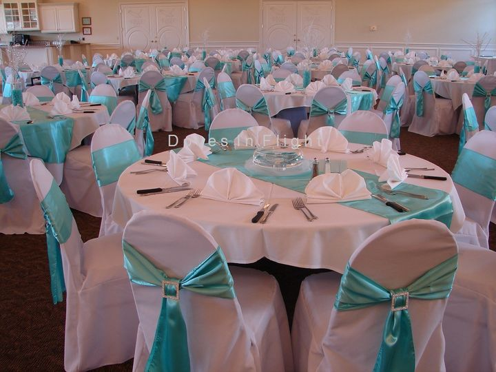 Aqua chair bows