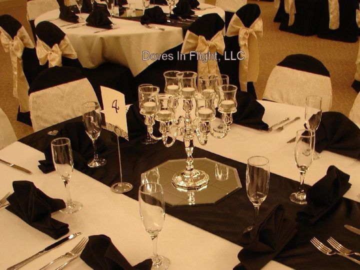 Tmx 1389841487979 Elegant Silver 7 Candle Candelabra On Black Satin  Dimondale, Michigan wedding rental