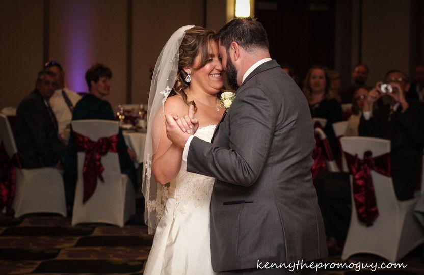 Sweet newlyweds dance