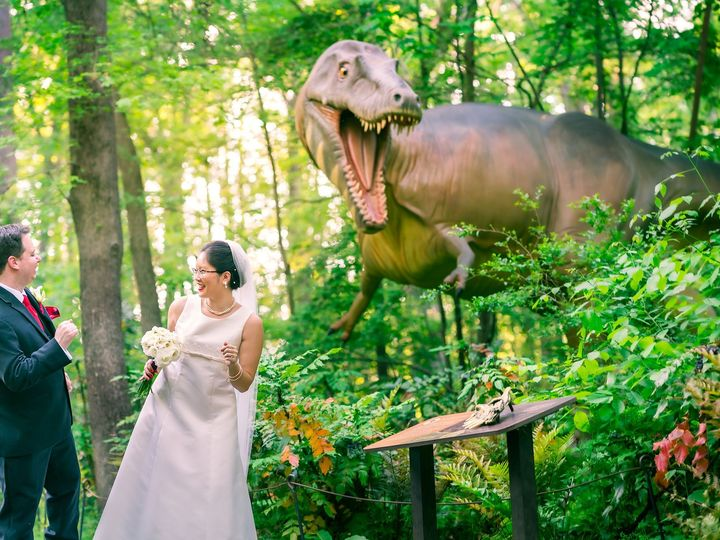 Tmx Bride And Broom Candid Portrait At Natural Museum In Durham With Dinosaur 2047 1367 51 1006284 1570780148 Raleigh, NC wedding photography