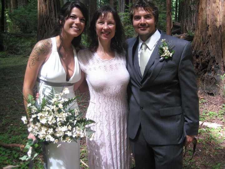 Intimate wedding in the grand cathedral of the redwoods in Humboldt County. Reverend Jacqueline...
