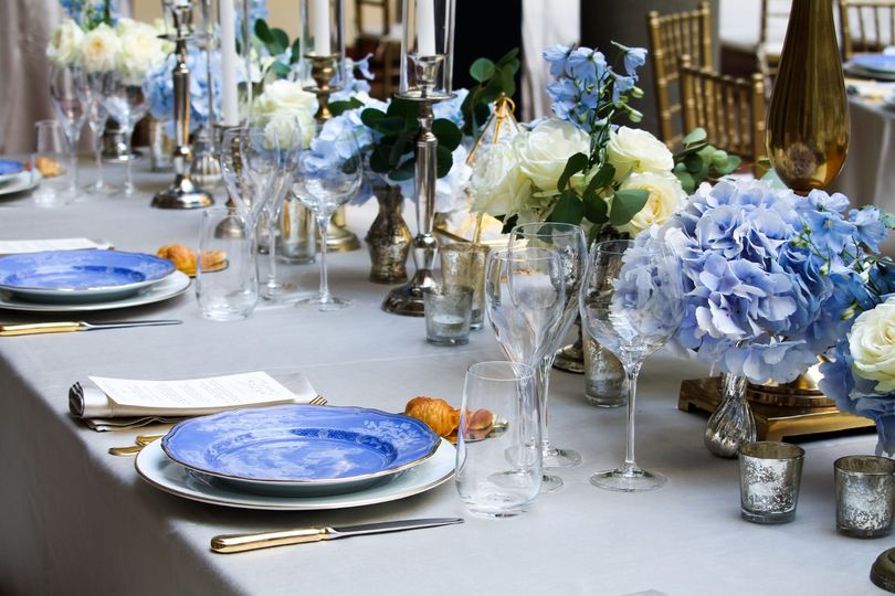 Table setting and blue floral decor